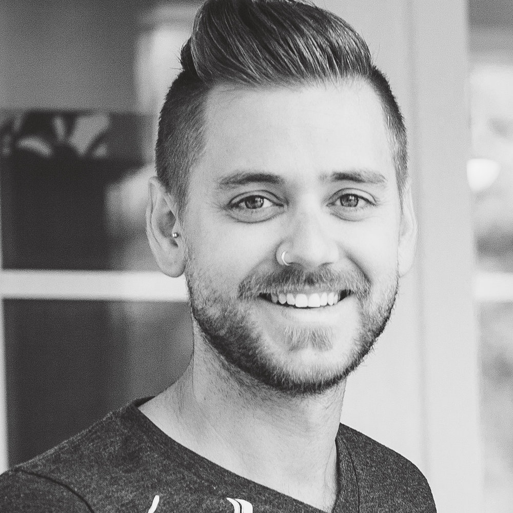 black and white photo of aaron